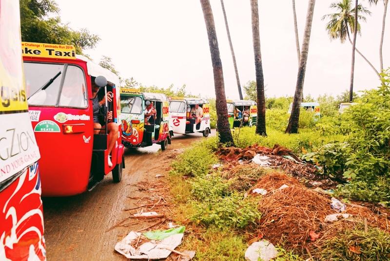 Traffic jam met rickshaws door koeien
