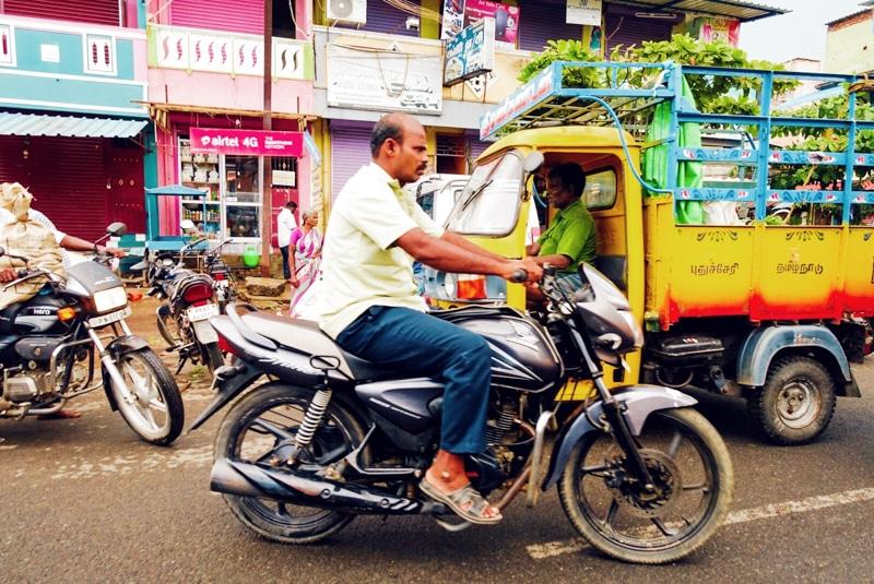 Rijden in een rickshaw door India