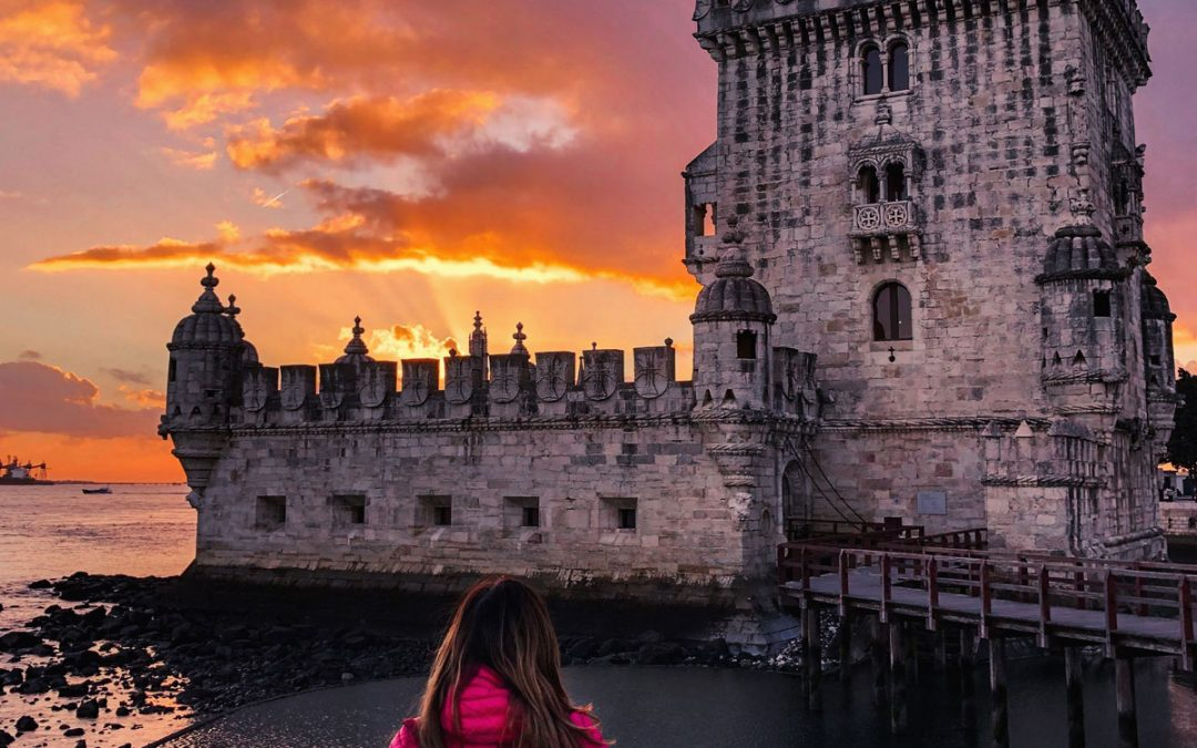 Sunset at the Tower of Belém in Lisbon