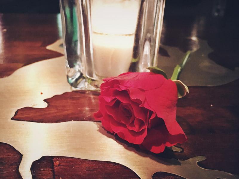 Een rode roos gekregen van mijn blind date