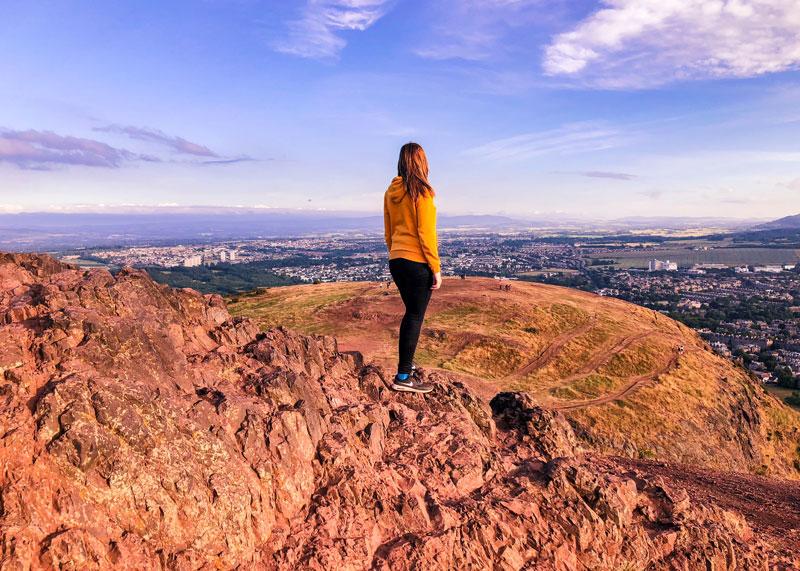 Beklimmen van de Arthur's Seat in Edinburgh