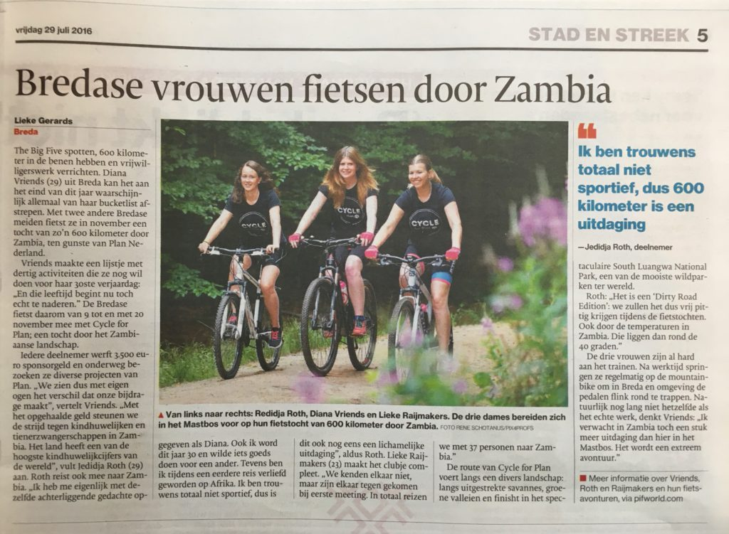 cycle for plan, trainen, plan nederland, goede doel, bn de stem, breda, krantartikel,