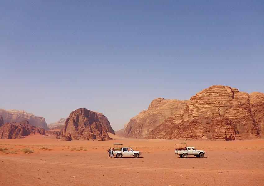 Jeepsafari door de Wadi Rum woestijn in Jordanië